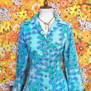 True Vintage🌷70s Psychedelic Button Down Shirt!